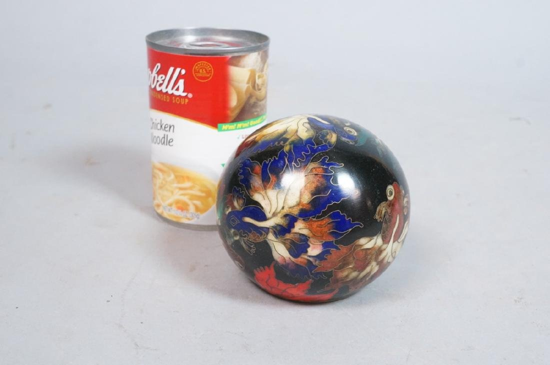 Cloisonne Enamel Ball Paperweight. Fancy tailed g - 5