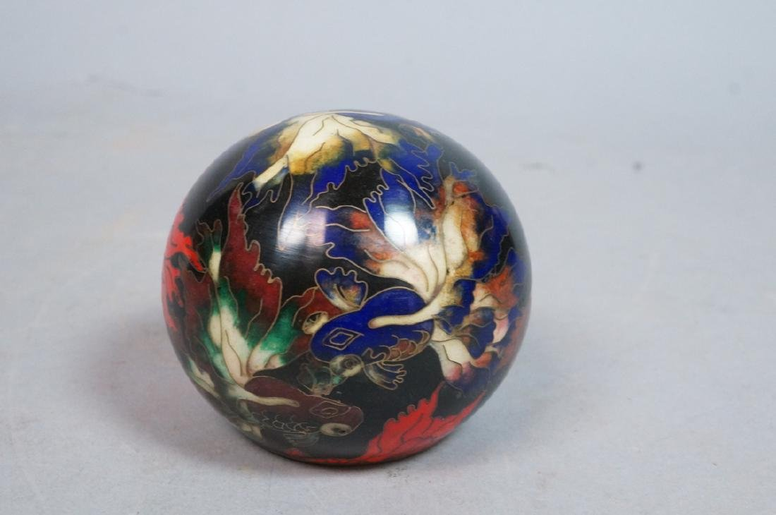Cloisonne Enamel Ball Paperweight. Fancy tailed g - 8