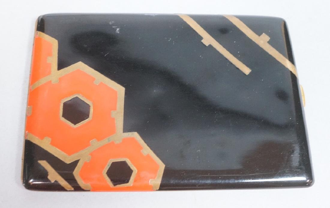 Period Art Deco Enamel Cigarette Case. Black & re