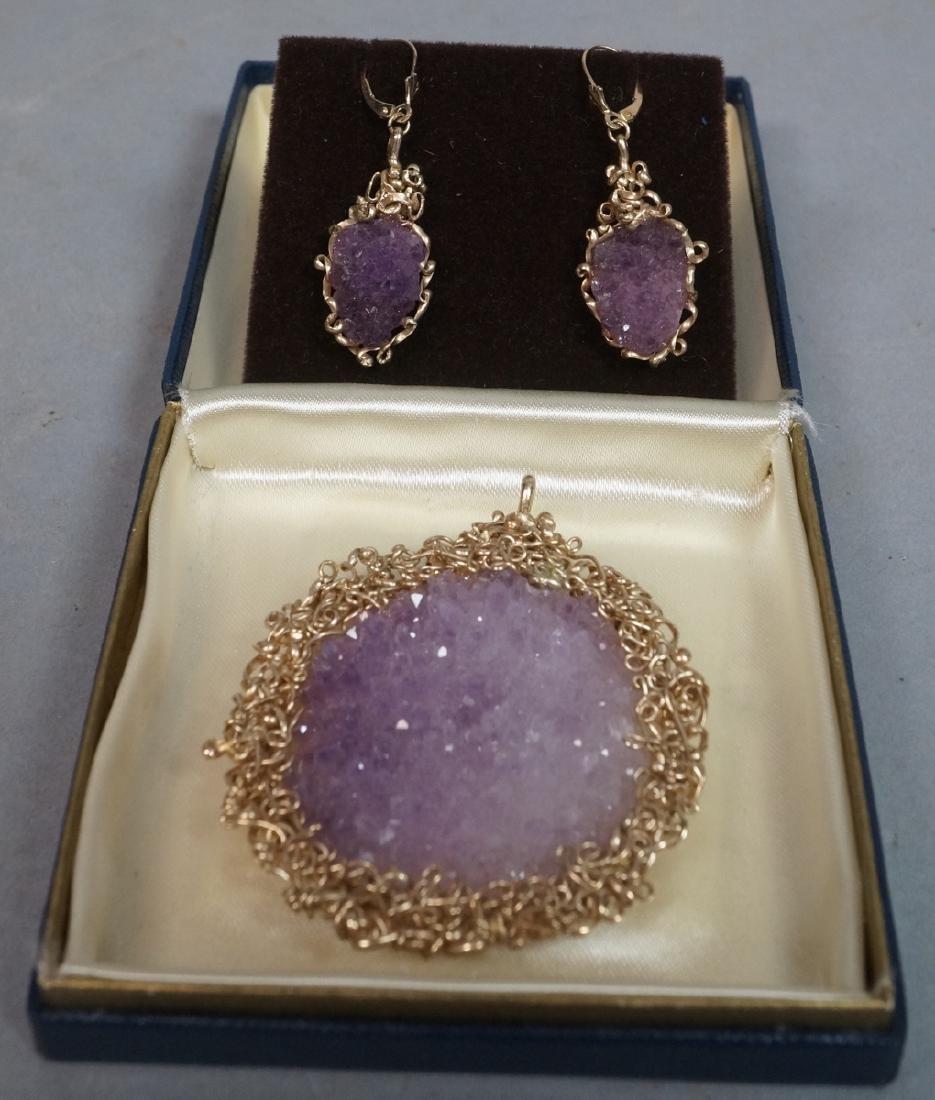 DRUZY Amethyst Crystal 14K Gold Pendant & Earring