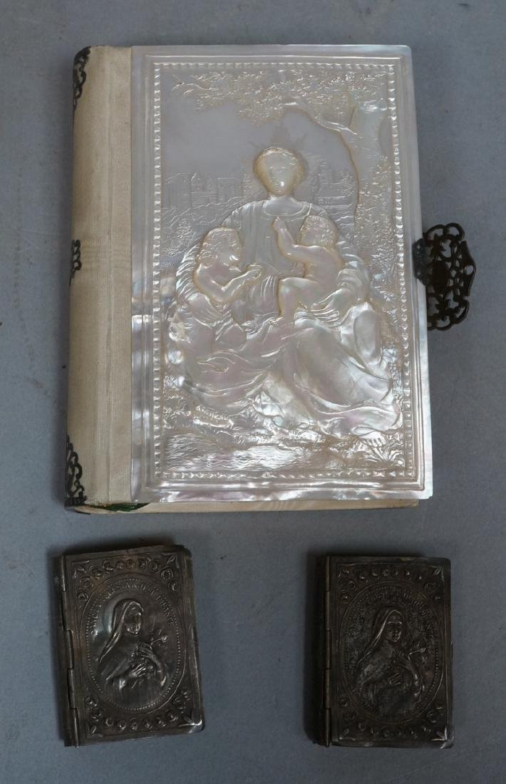 Antique French Carved Mother Pearl Religious Book
