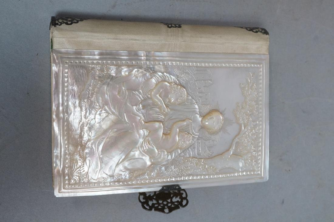Antique French Carved Mother Pearl Religious Book - 5