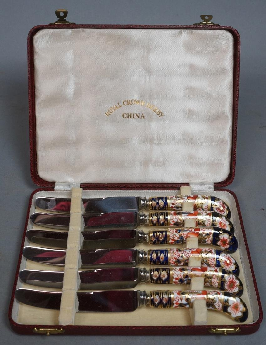 ROYAL CROWN DERBY Box Set 6 Knives. Imari style p