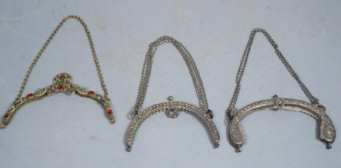 3pc Vintage Handbag Purse Clasps. One with jewele