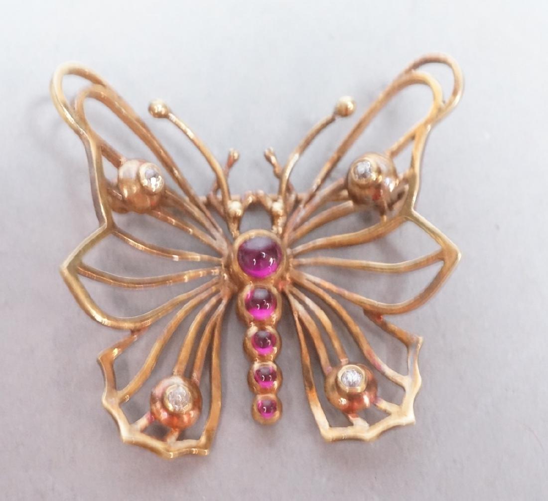 14K Gold Vintage Butterfly Brooch Pin. Figural bu