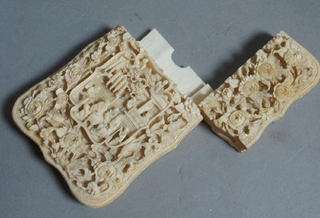 Asian Chinese Carved Card Case. Deep relief flora