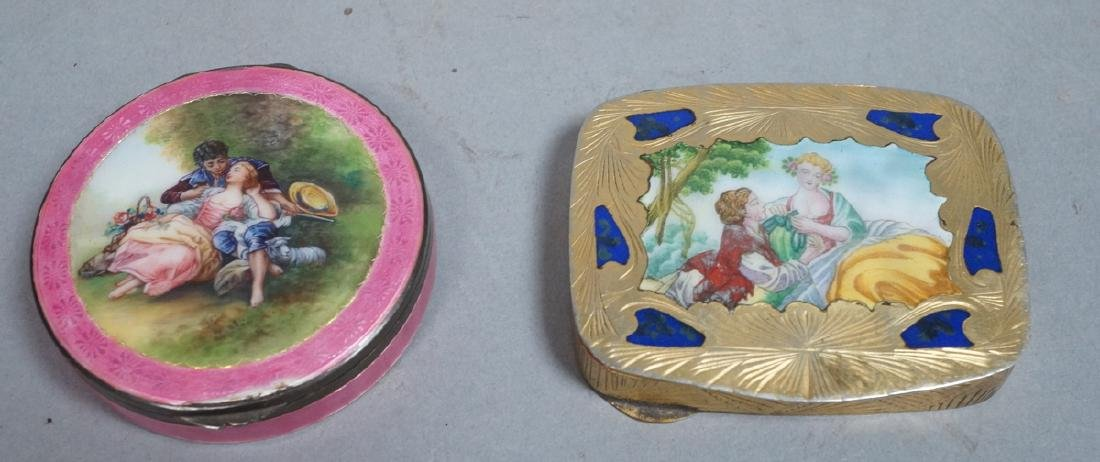 2 Vintage Silver Enamel Compacts. Courting Scene