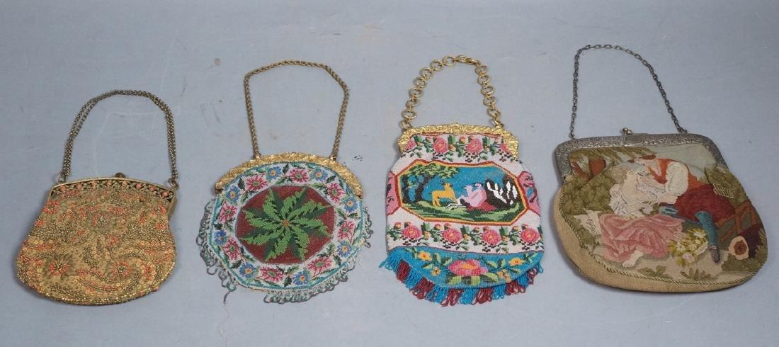 4 Antique Evening Bag Purse Lot. Elegant French o