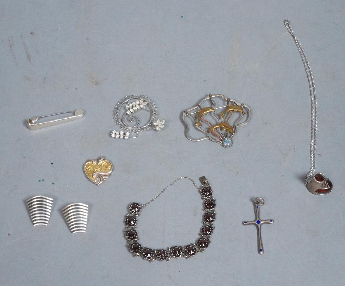 9pc Sterling & Silver Jewelry Lot. Artist signed
