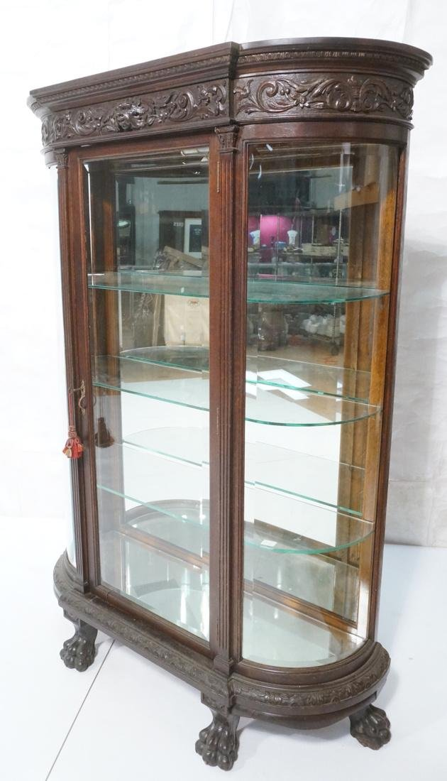 Antique Carved Dark Oak Bowed Side China Cabinet.