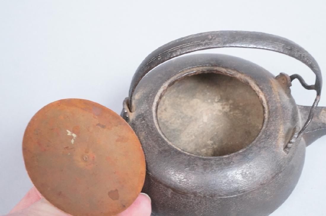 Vintage Asian Cast Iron Footed Kettle Tea Pot. De - 4