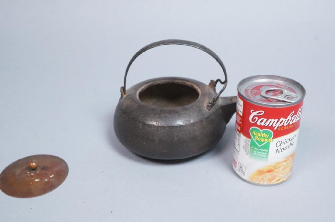Vintage Asian Cast Iron Footed Kettle Tea Pot. De - 5