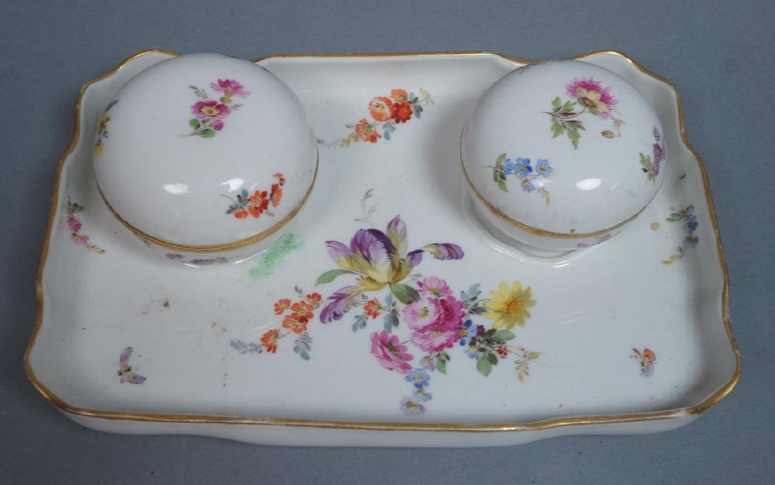 MEISSEN German Dresser Set. Scalloped low tray wi