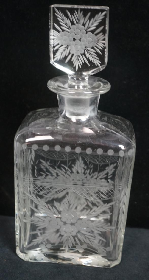Antique Engraved Crystal Decanter Floral & Garlan