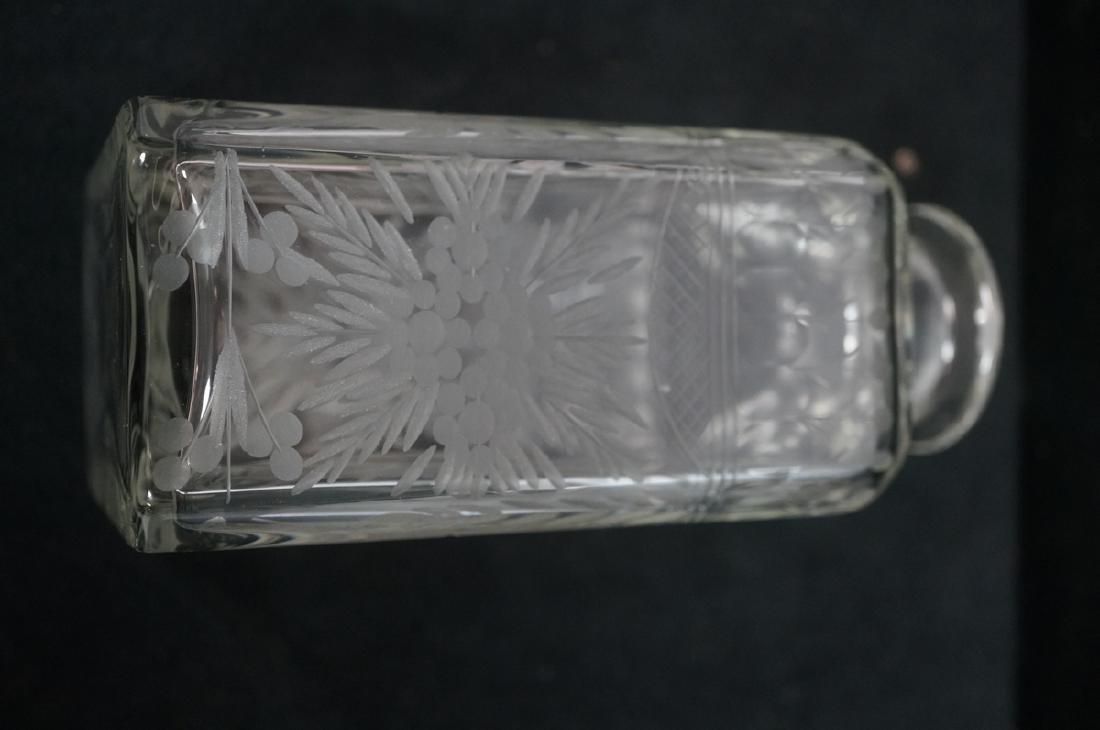 Antique Engraved Crystal Decanter Floral & Garlan - 5