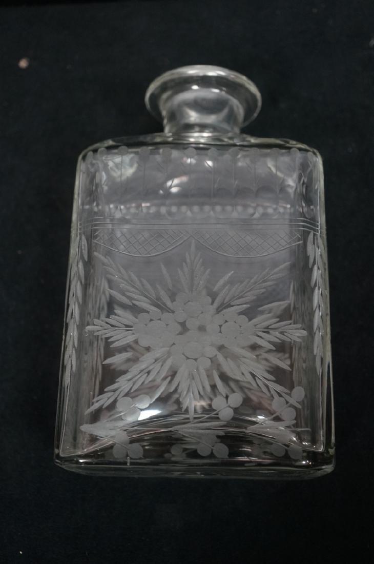 Antique Engraved Crystal Decanter Floral & Garlan - 6