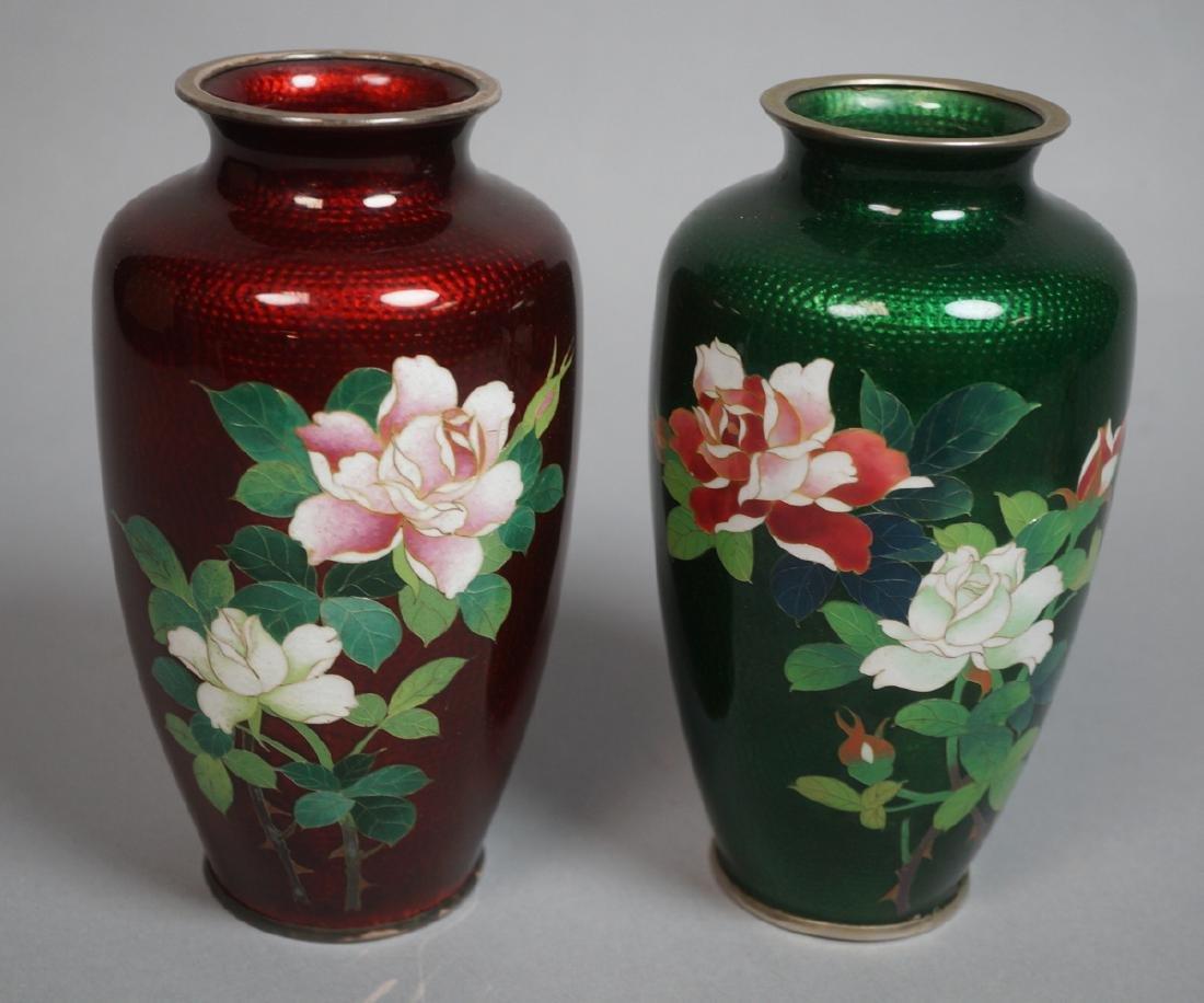 Pr Japanese Cloisonne Enamel Vases. One red backg