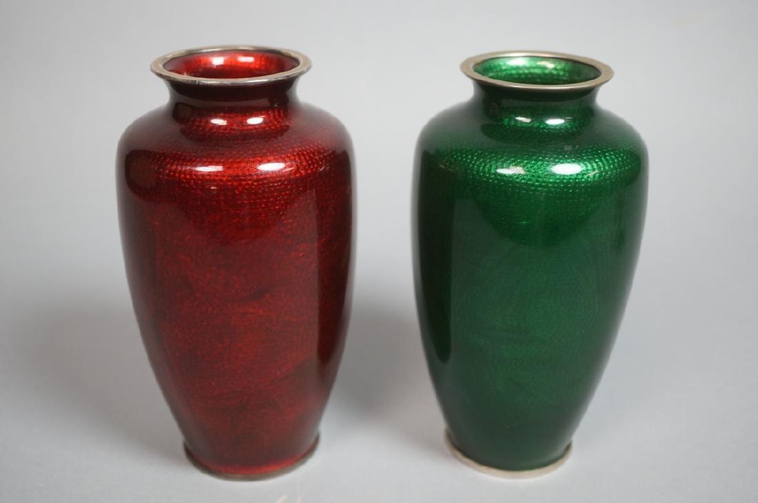 Pr Japanese Cloisonne Enamel Vases. One red backg - 2