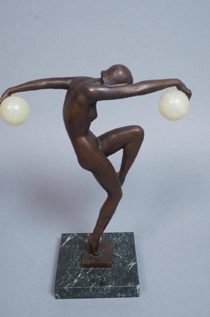 Signed DENIS Art Deco Style Figural Nude Bronze S - 4