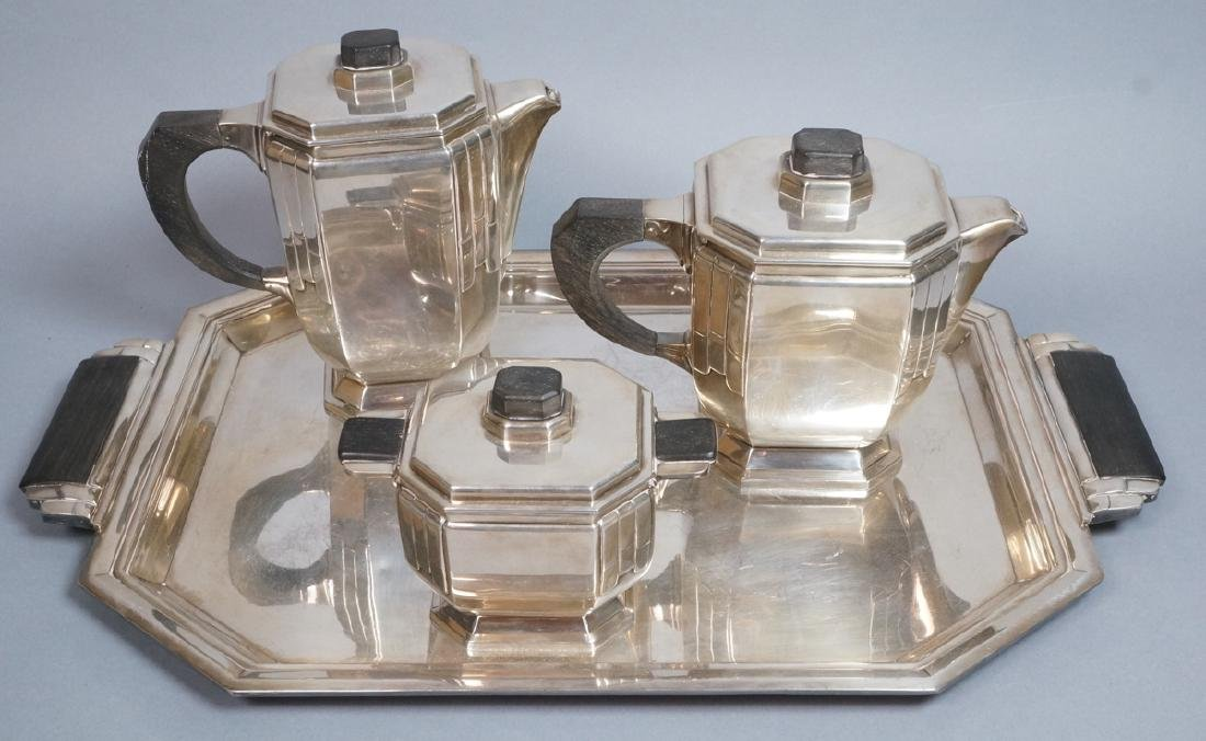 Stunning Rare Art Deco Silver Tea Service. Modernistic