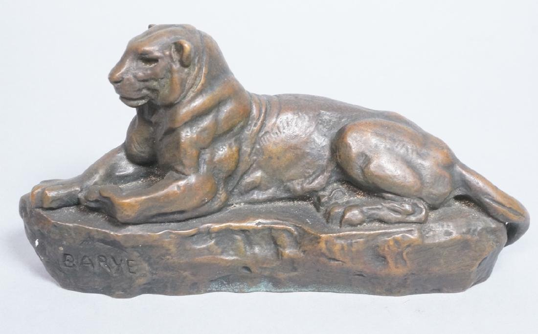 Bronze after ANTOINE LOUIS BARYE  of Reclining Li