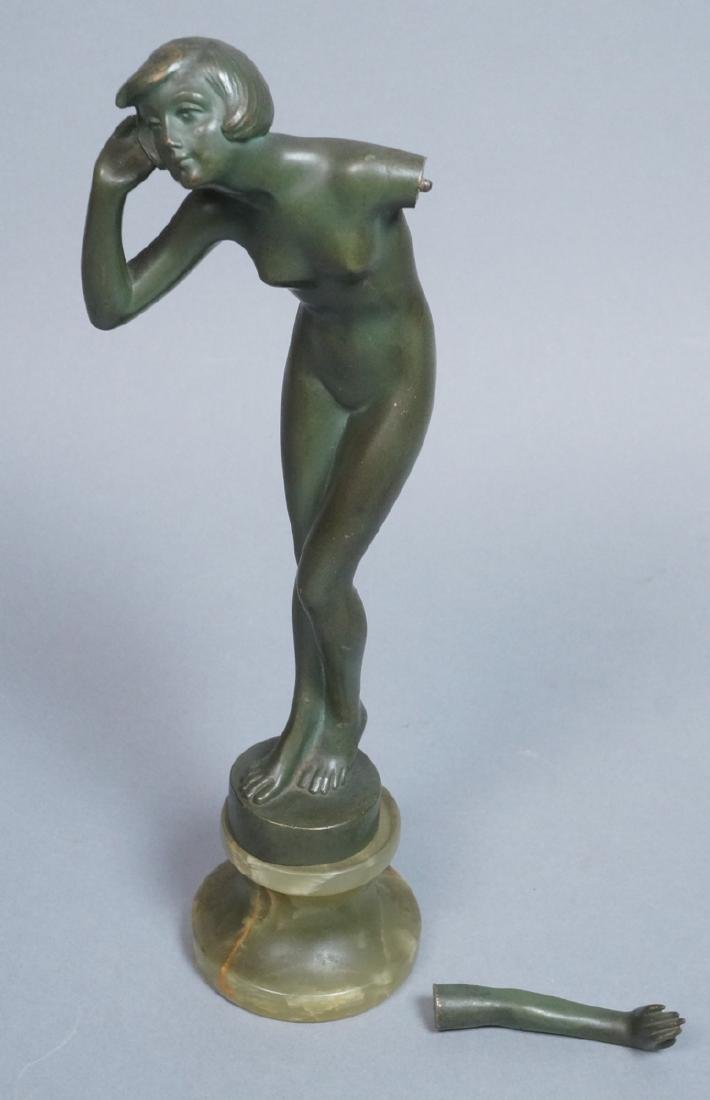 J. ULRICH Figural Bronze Nude Sculpture. Graceful