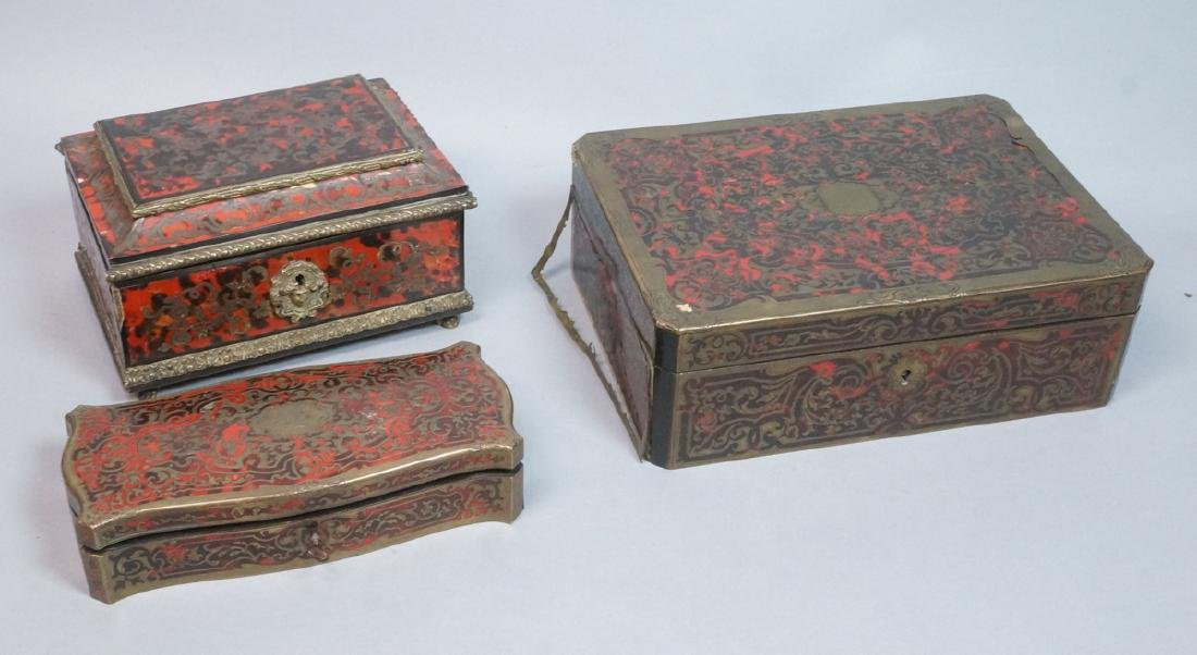 3pc Antique Boulle Brass Jewelry Boxes. Inlaid bo