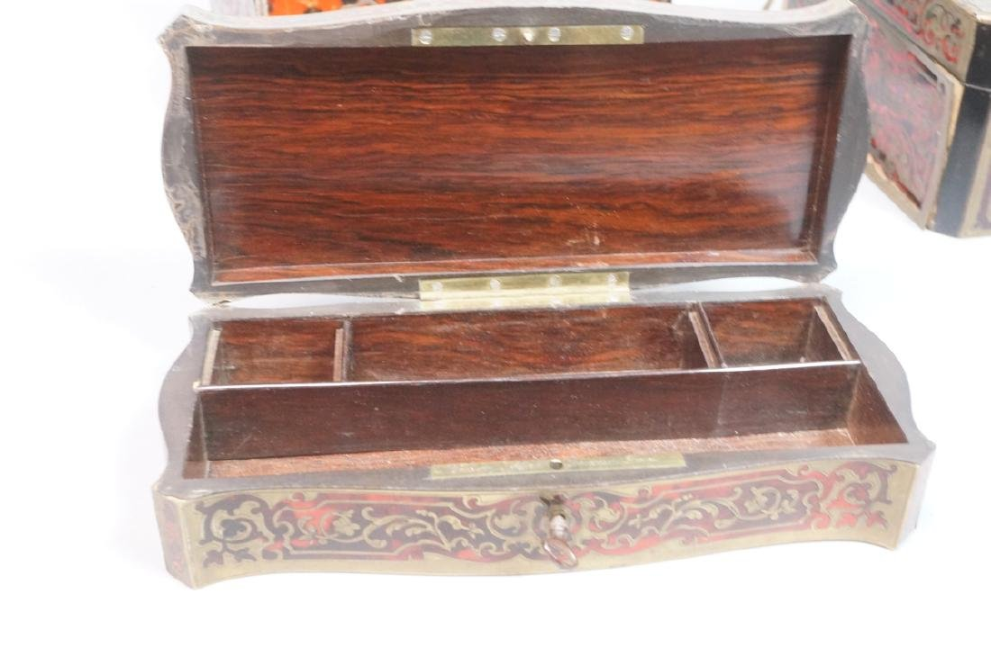 3pc Antique Boulle Brass Jewelry Boxes. Inlaid bo - 2
