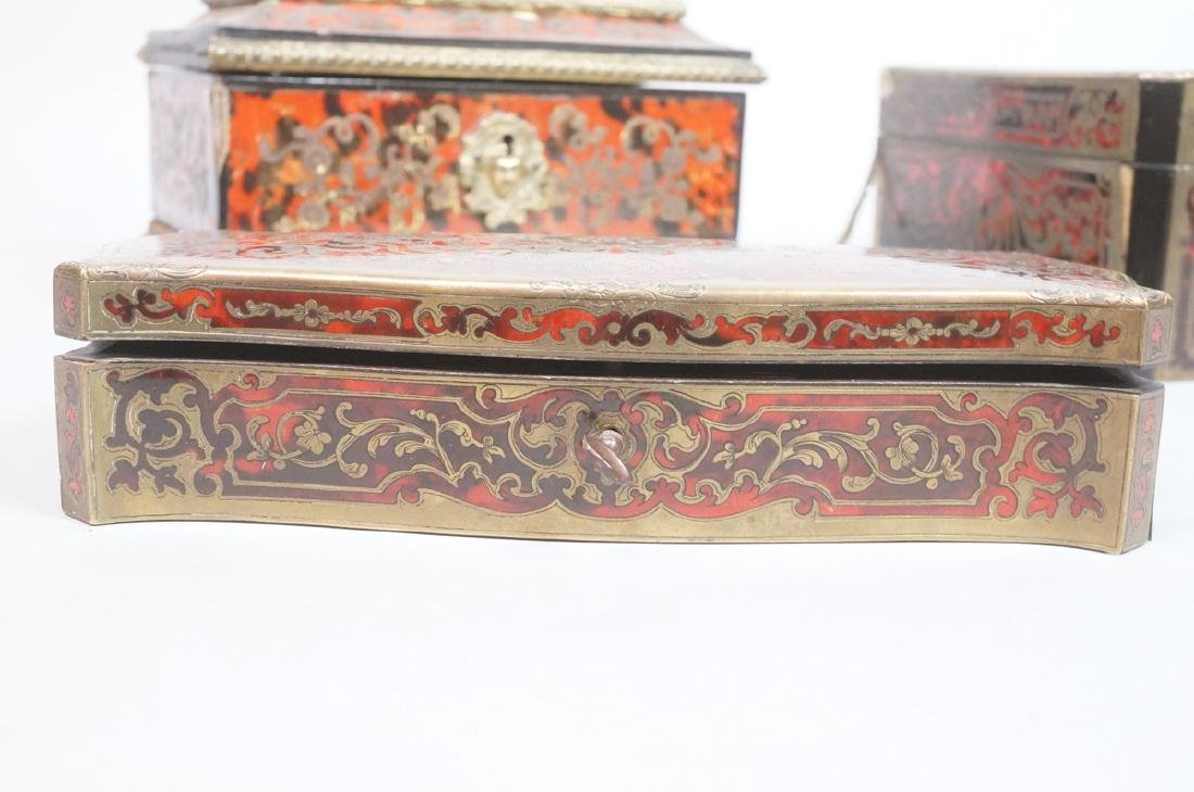 3pc Antique Boulle Brass Jewelry Boxes. Inlaid bo - 3