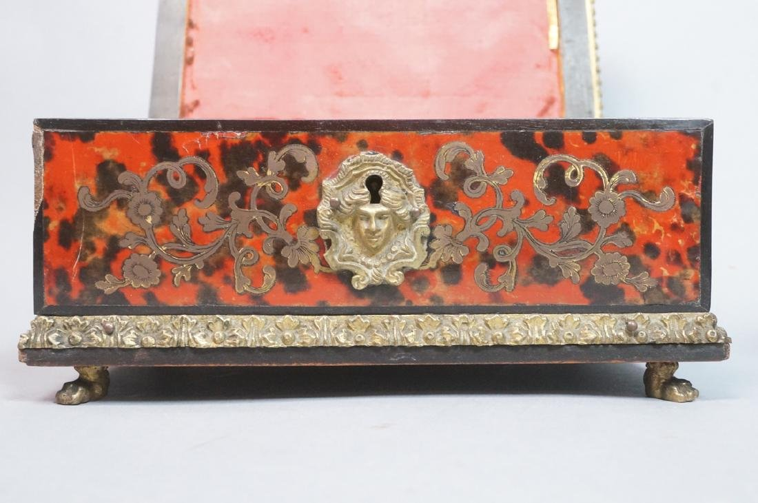 3pc Antique Boulle Brass Jewelry Boxes. Inlaid bo - 6