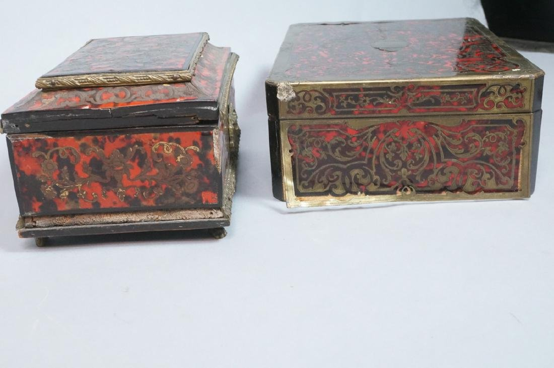 3pc Antique Boulle Brass Jewelry Boxes. Inlaid bo - 9