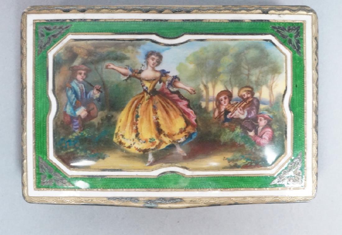 Enameled Silver Antique Miniature Box. Figural en