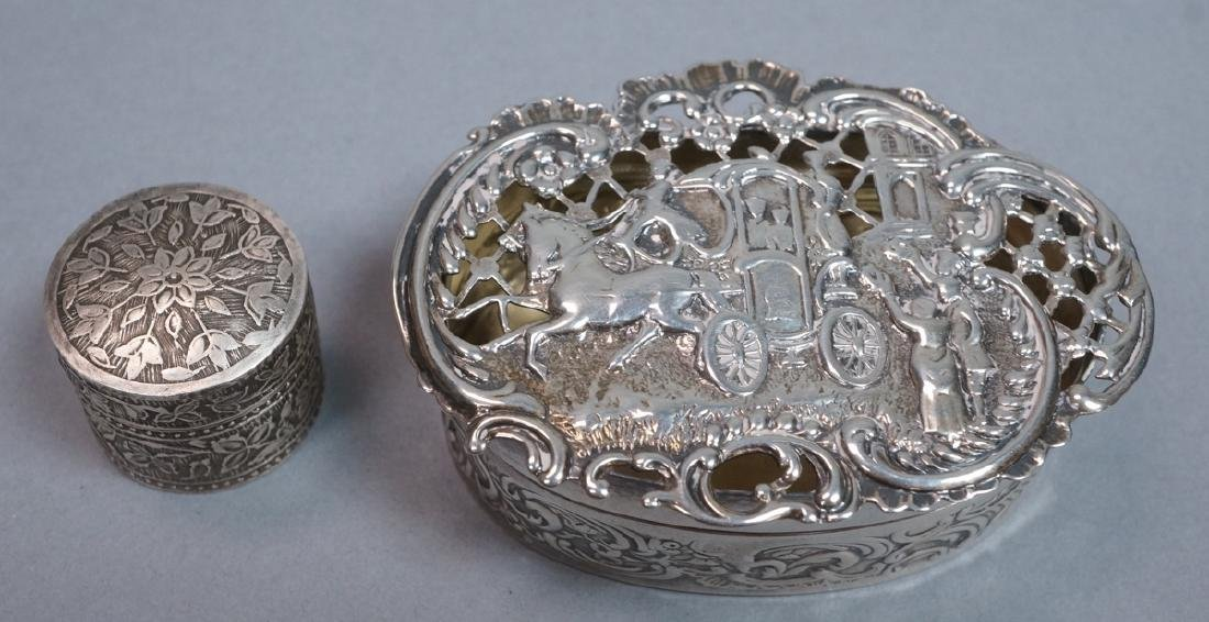 2 Silver & Sterling Vintage Boxes. Small round li