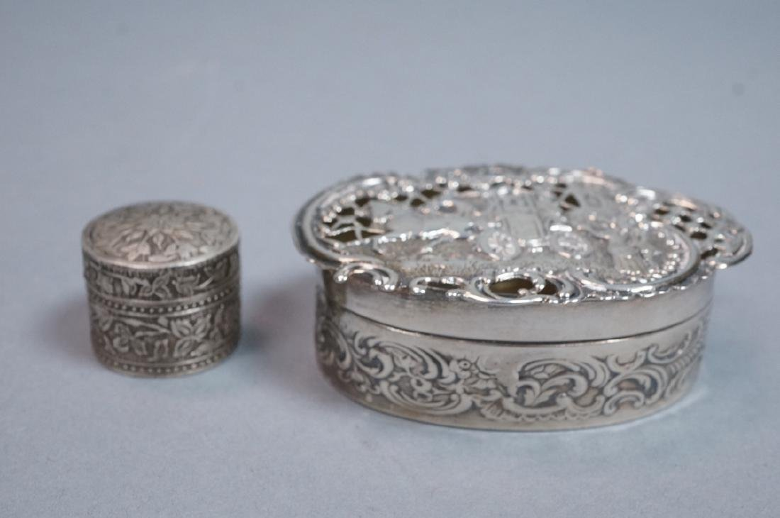 2 Silver & Sterling Vintage Boxes. Small round li - 2