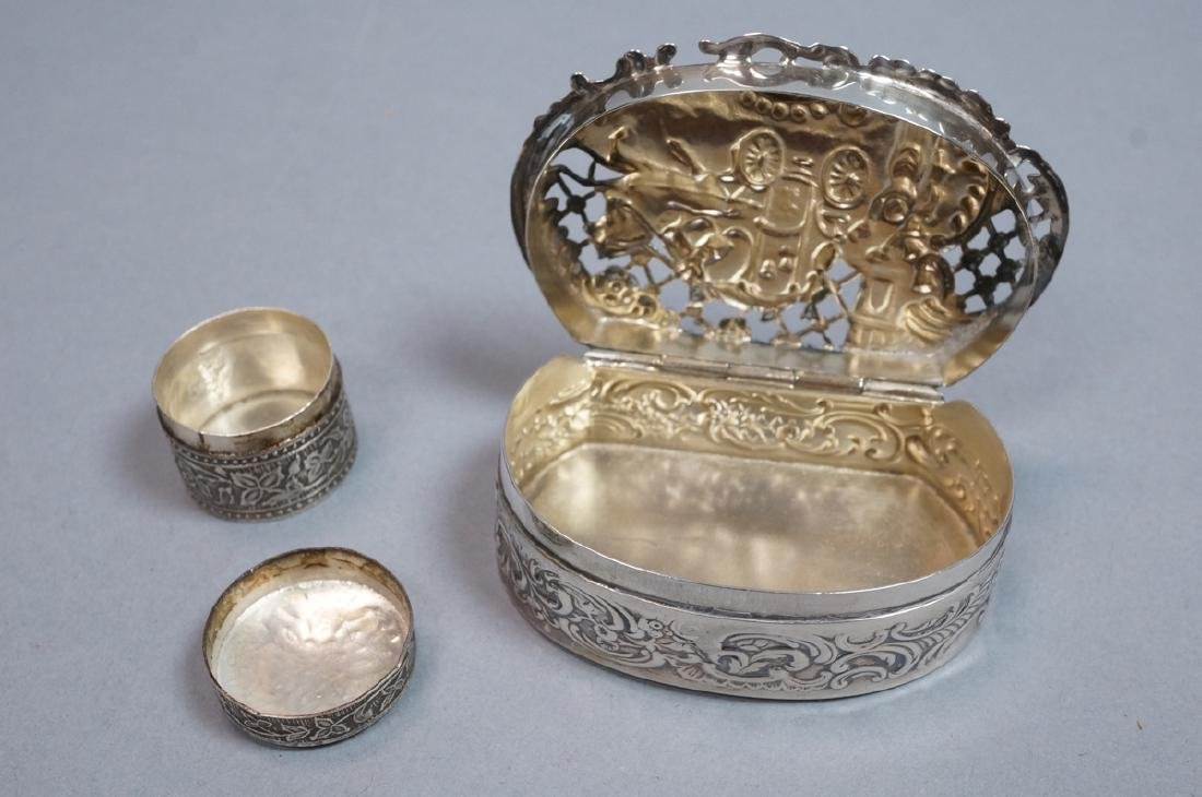 2 Silver & Sterling Vintage Boxes. Small round li - 3