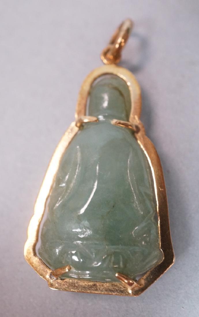 14K Carved Jade Buddha Pendant. Buddha figure in - 2