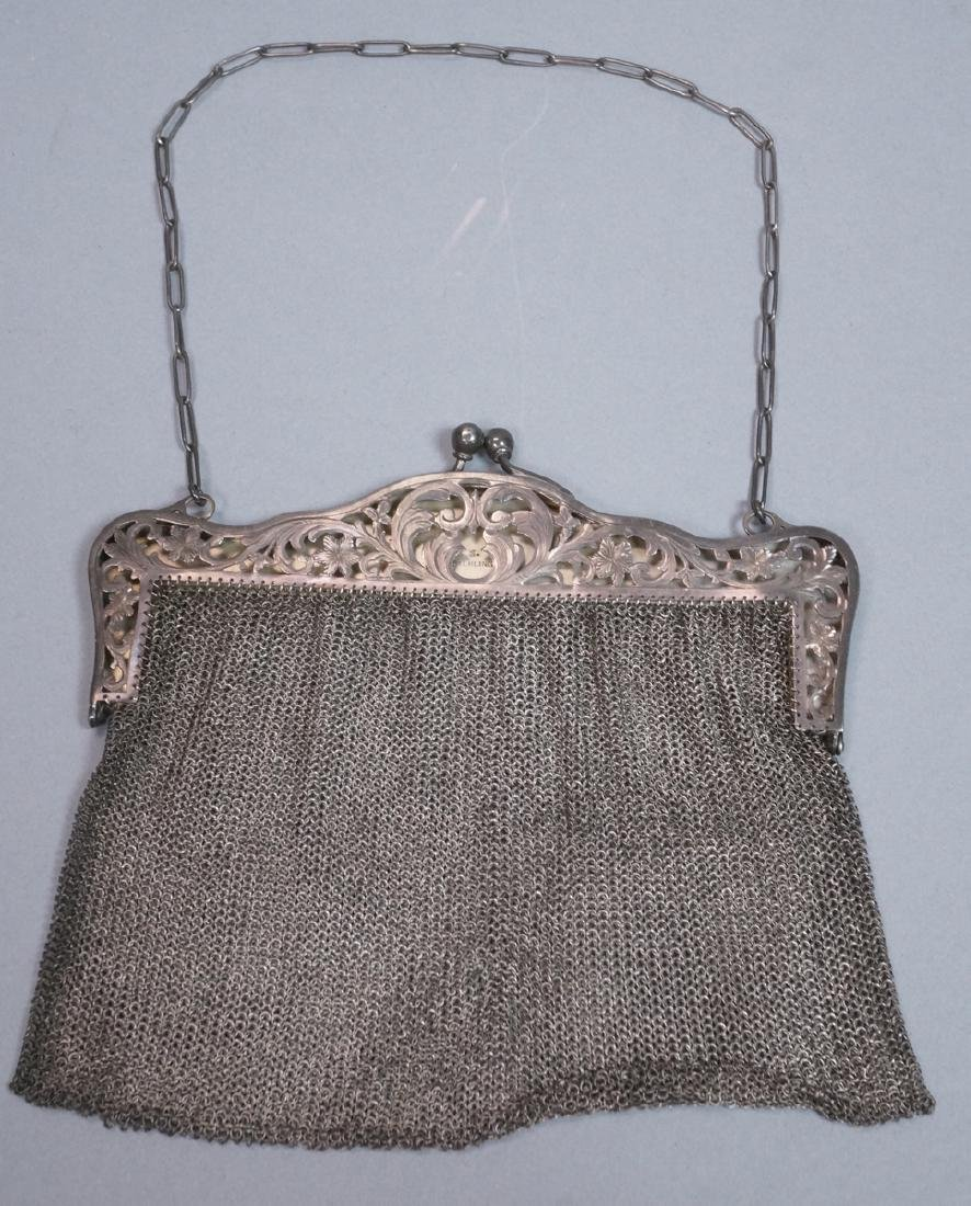 Antique Sterling Chain Maille Evening Bag Purse.