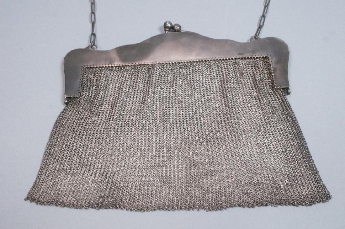 Antique Sterling Chain Maille Evening Bag Purse. - 6