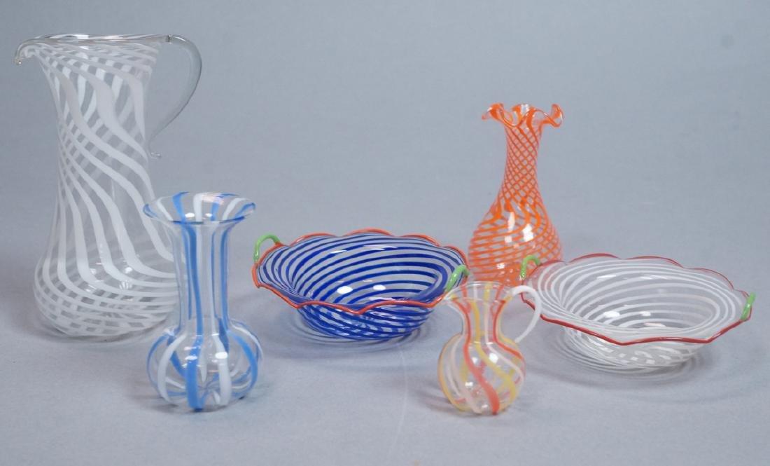 6pc BIMINI Art Glass Vessels. Very thin glass wit