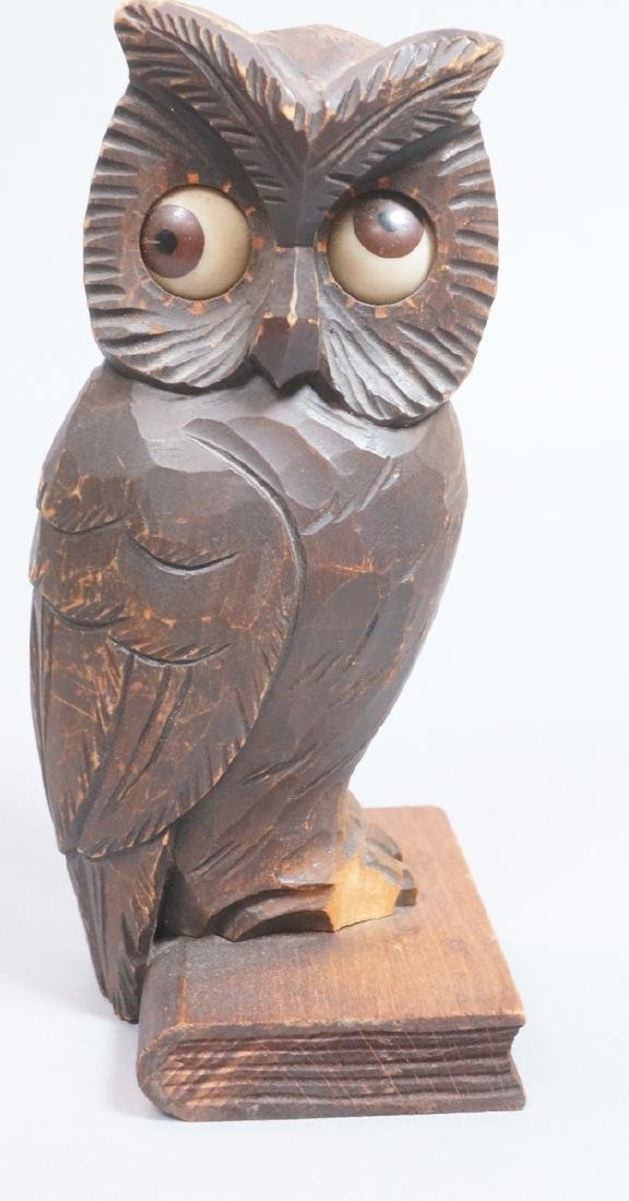Vintage Figural Carved Wood Owl Clock. Eyes are t