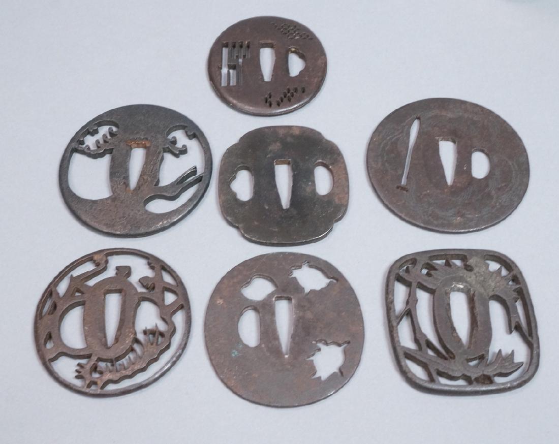7pc Japanese Steel Tsuba. Some figural design wit