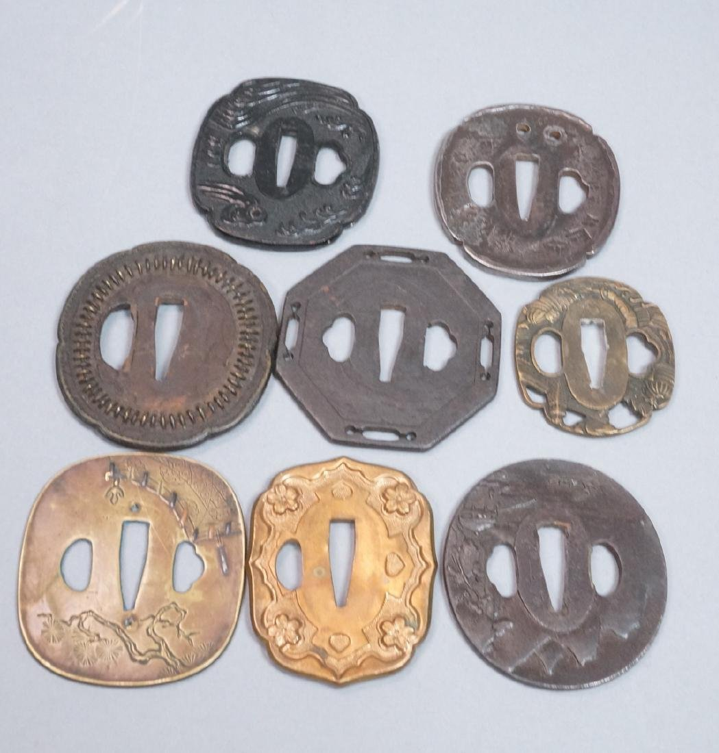 8pc Japanese Steel & Brass Tsuba. Mixed metal tsu