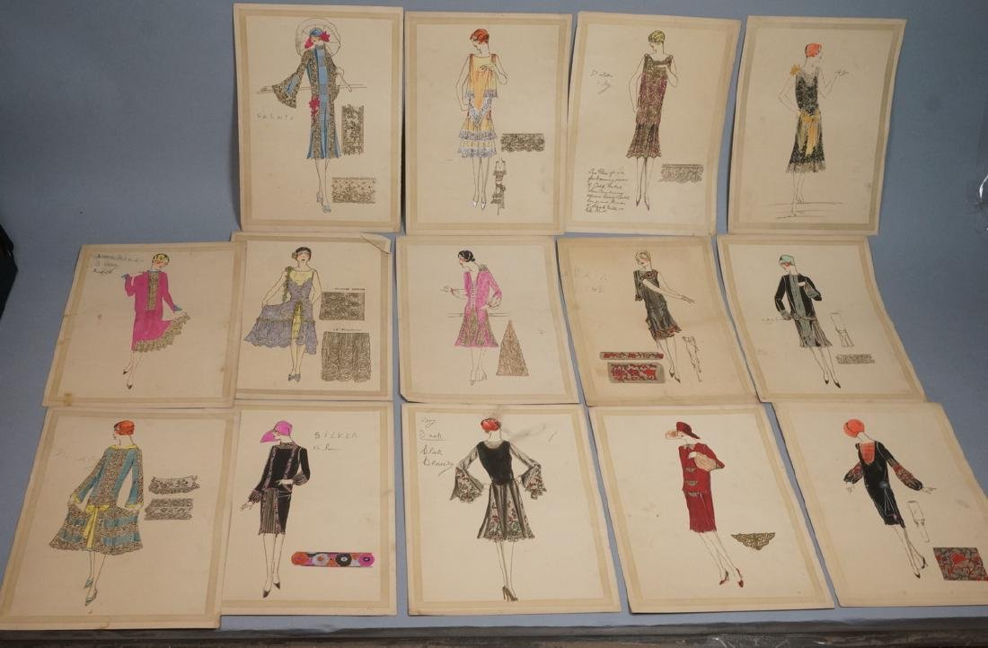 Collection of 12 Hand Drawn Fashion Drawings. All
