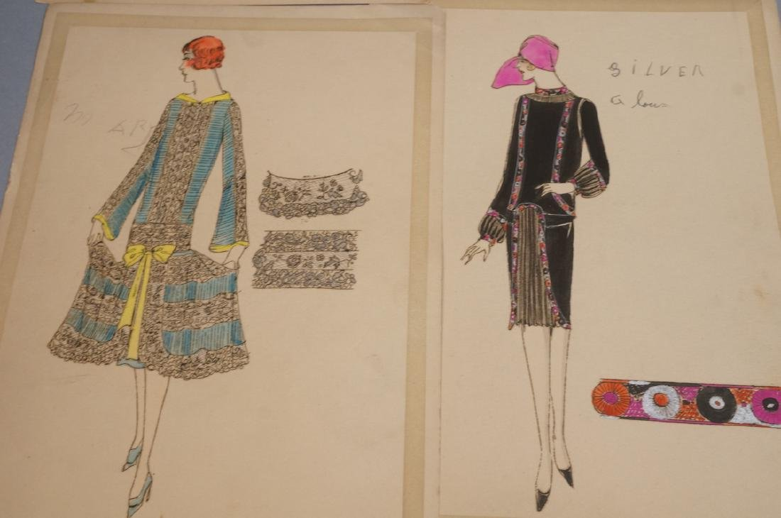 Collection of 12 Hand Drawn Fashion Drawings. All - 2