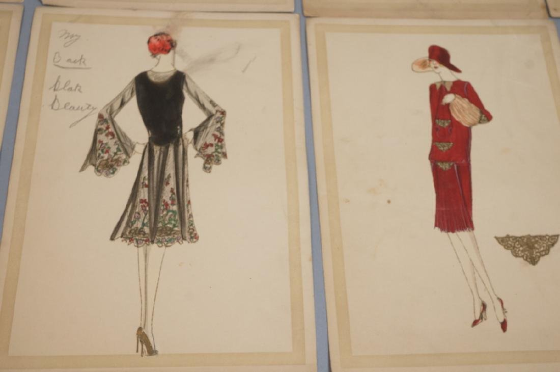 Collection of 12 Hand Drawn Fashion Drawings. All - 3