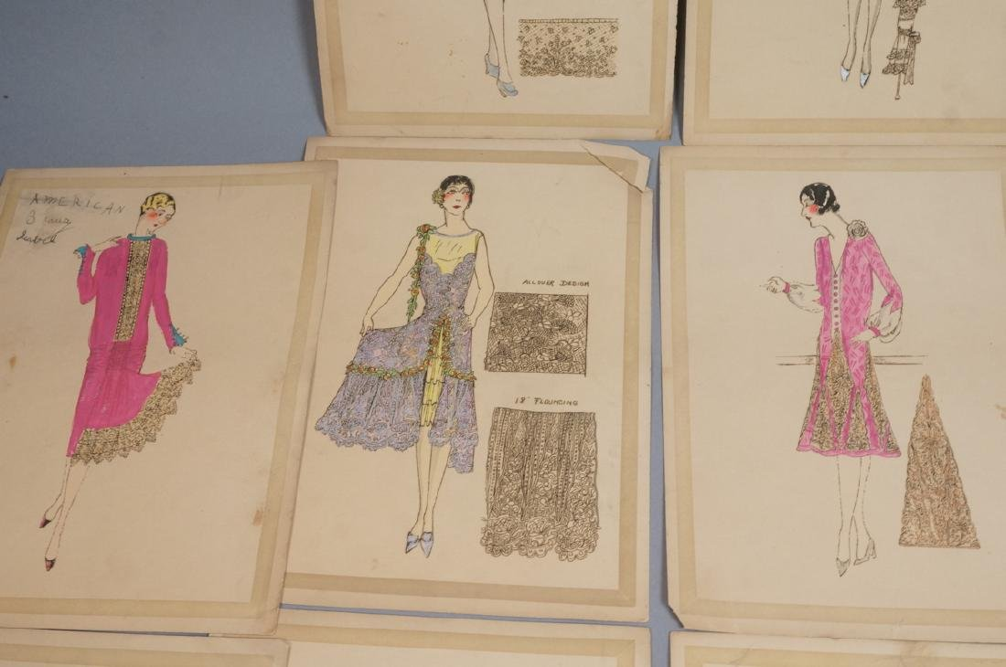 Collection of 12 Hand Drawn Fashion Drawings. All - 5