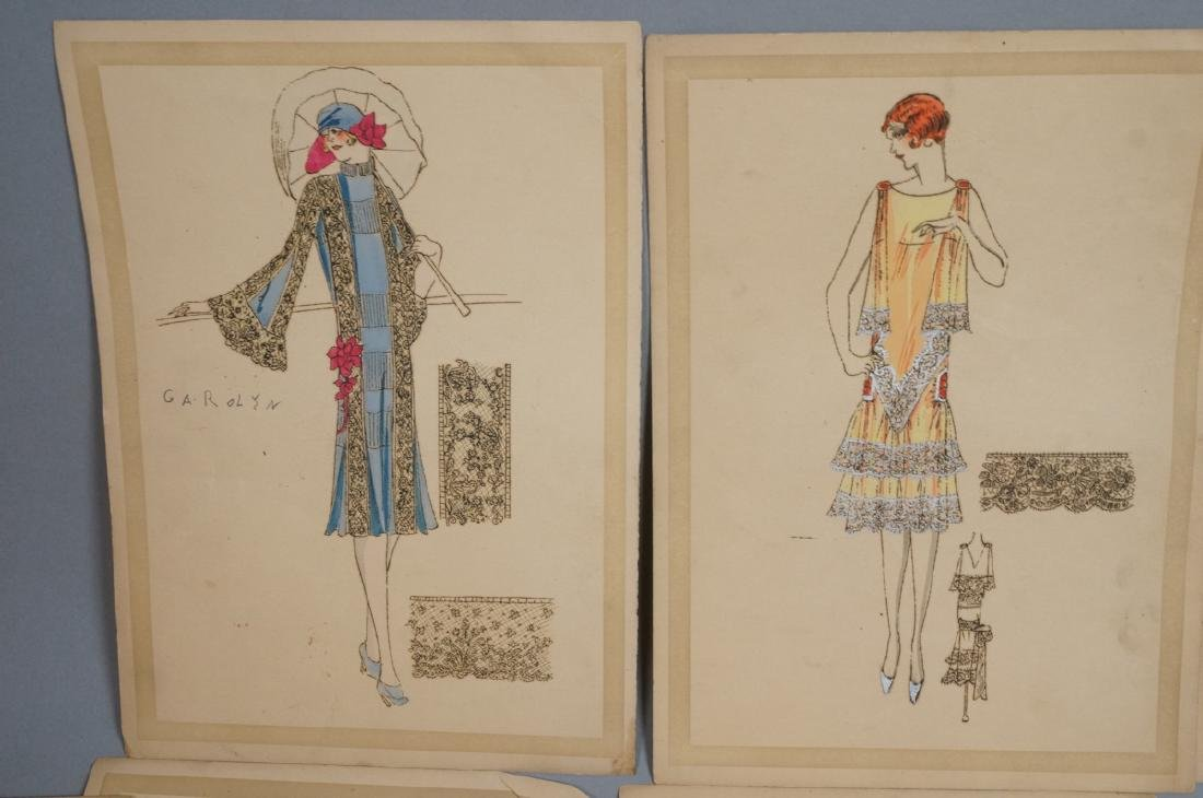 Collection of 12 Hand Drawn Fashion Drawings. All - 6