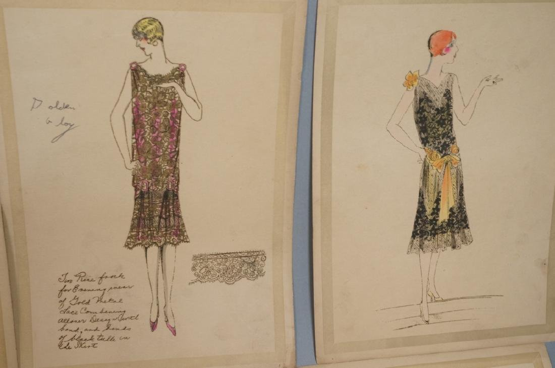 Collection of 12 Hand Drawn Fashion Drawings. All - 7
