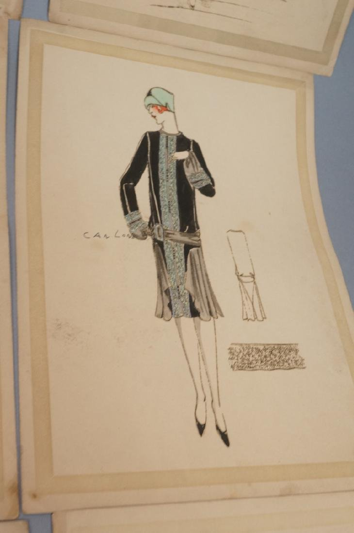 Collection of 12 Hand Drawn Fashion Drawings. All - 8