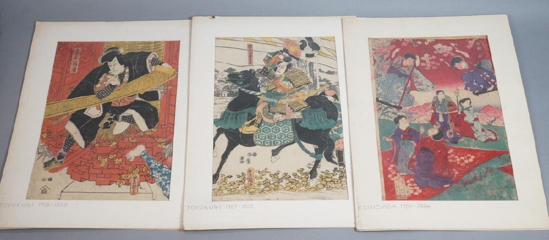3 Japanese Wood Block Prints. 1) TOYO KUNI Samura